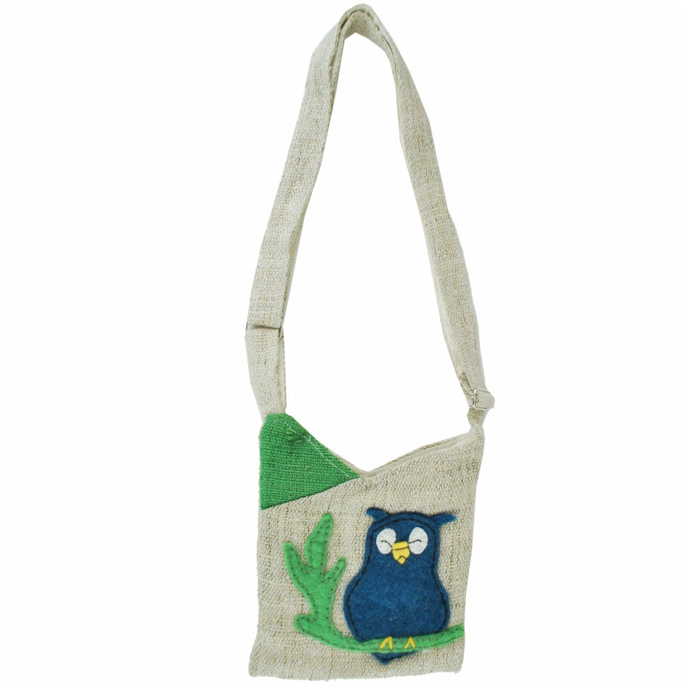 Sleepy Owl Mini Hemp Purse (Nepal)