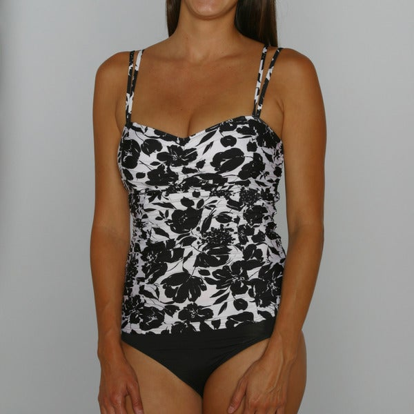 Jantzen Women's Center of Attention Tankini Top and Strike a Posie Black High Waist Bottom