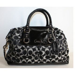 Coach Ashley Black/White Signature Sateen Satchel
