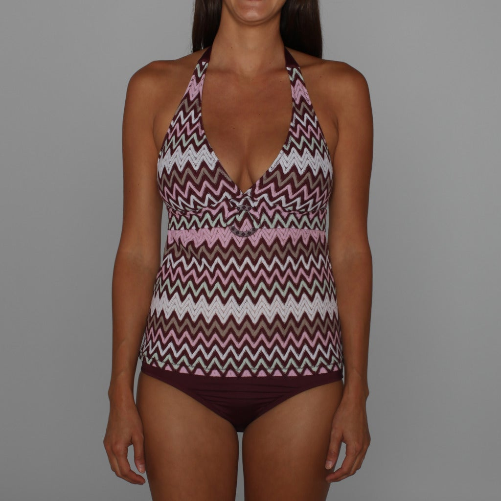 Perry Ellis Point Taken Tankini Top and Perfect Perry Black Plum Bottom