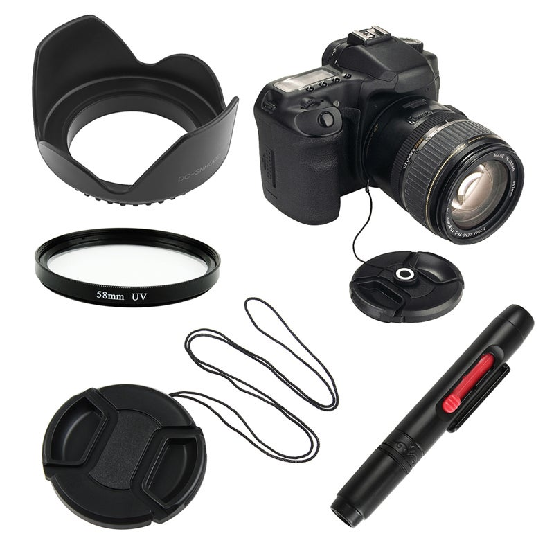 BasAcc Lens Cap/ Hood/ UV Lens Filter/ Cap Holder/ Pen for 58-mm lens
