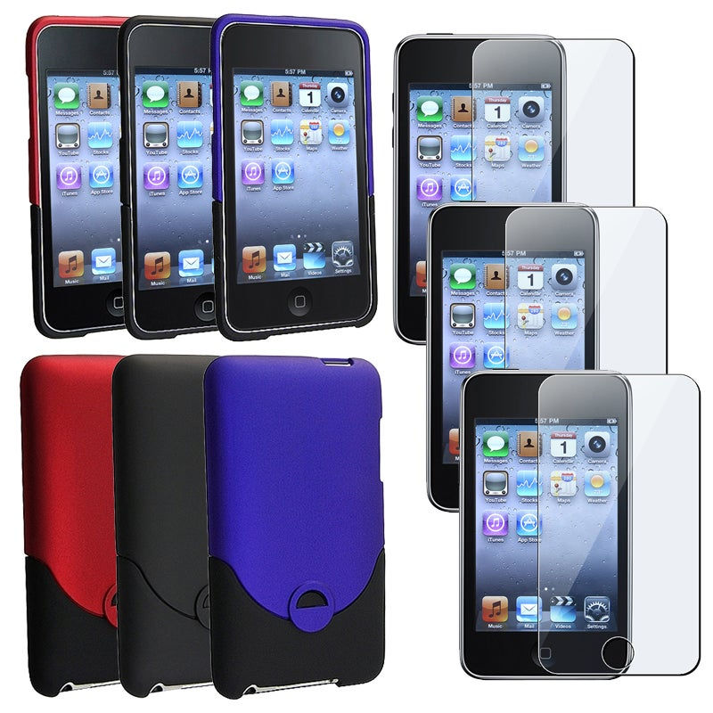 BasAcc Snap-On Rubber Case Set/Screen Protector for Apple iPod Touch Generation 2/3
