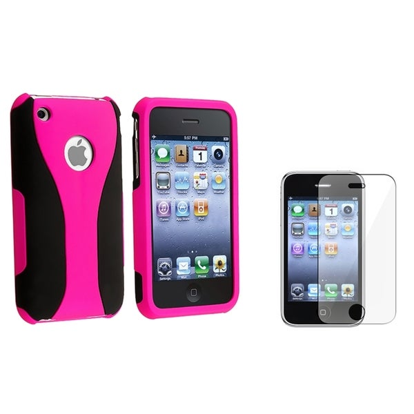 BasAcc Pink Case/ Screen Protector for Apple® iPhone 3G/ 3GS