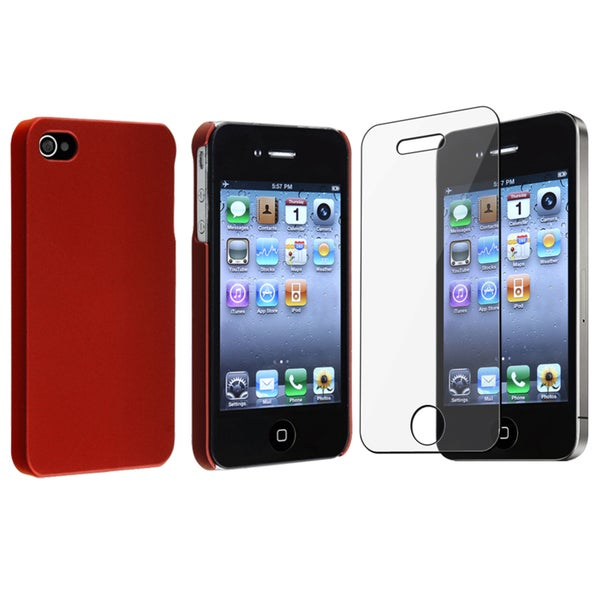 BasAcc Red Case/ Screen Protector for Apple® iPhone 4/ 4S