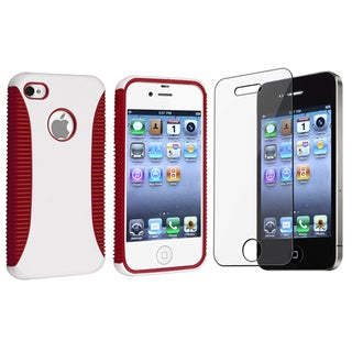 BasAcc Red/ White Hybrid Case/ Screen Protector for Apple� iPhone 4/4S