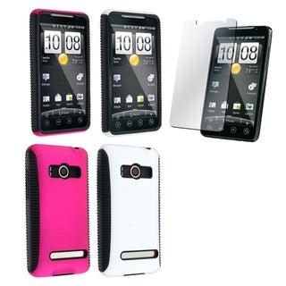 BasAcc Pink/ White Hybrid Case/ Screen Protector for HTC EVO 4G