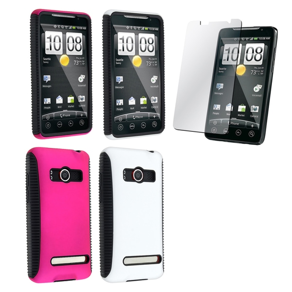 INSTEN Pink/ White Hybrid Phone Case Cover/ Screen Protector for HTC EVO 4G