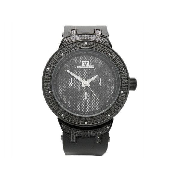 Super Techno Men's Black Diamond Watch