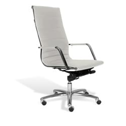 J & K White Modern High Back Office Chair
