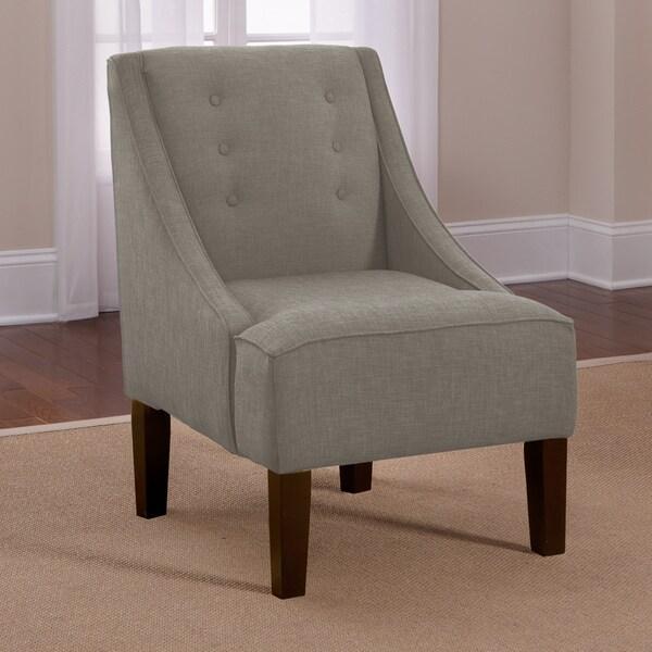 Skyline Grey Linen Button Accented Swoop Chair