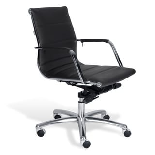 J & K Black Modern Low Back Office Chair