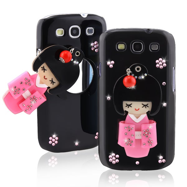 Black Kimono Girl Mirror Snap-on Case for Samsung Galaxy S III i9300
