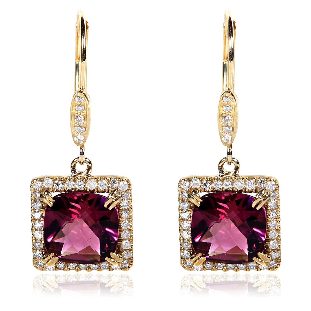 Annello 14k Yellow Gold Pink Tourmaline and 1/3ct TDW Diamond Earrings (G-H, I1-I2)