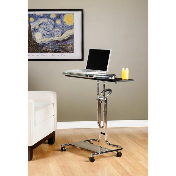 Studio Designs Calico Clear Glass Laptop Cart with Mouse Pad