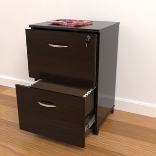 Inval Modern Mobile 2-Drawer Locking File Cabinet
