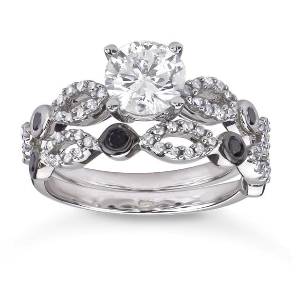 10k Gold 1 1/2ct TDW White and Black Diamond Bridal Ring Set (H-I, I1-I2)