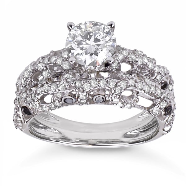 10K White Gold 2ct TDW Diamond Bridal Set (H-I, I1-I2)