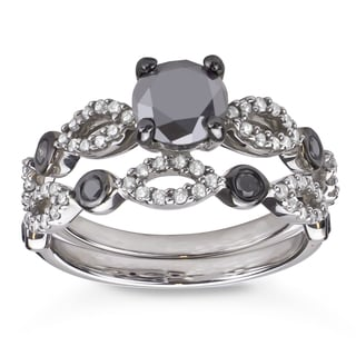 Silver 1 1/2ct TDW Black and White Diamond Bridal Ring Set (H-I, I1-I2)