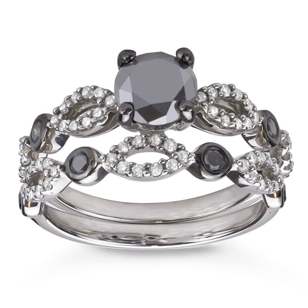 Sterling Silver 1 1 2ct TDW Black and White Diamond Bridal Ring Set H I I1