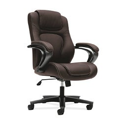 basyx by HON Brown Managerial Mid-Back Office Chair with Loop Arms