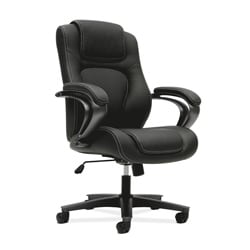 basyx by HON Black Swivel Managerial Mid-Back Chair with Loop Arms