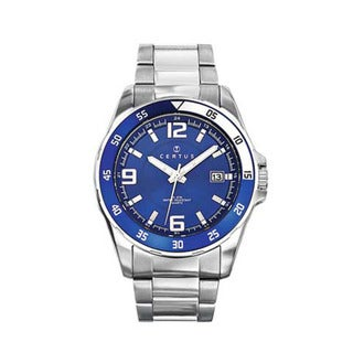 Certus Paris stainless steel men's blue dial date watch