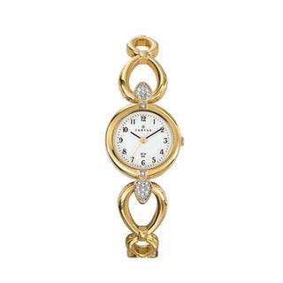 Certus Paris women's gold tone brass stones encrusted white dial watch