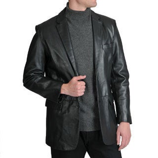 Excelled Men's Lamb Leather 2-Button Blazer
