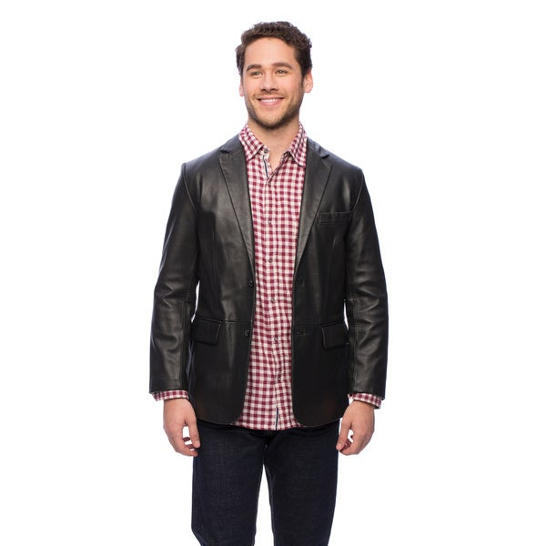 Excelled Men's Lamb Leather 2-Button Blazer