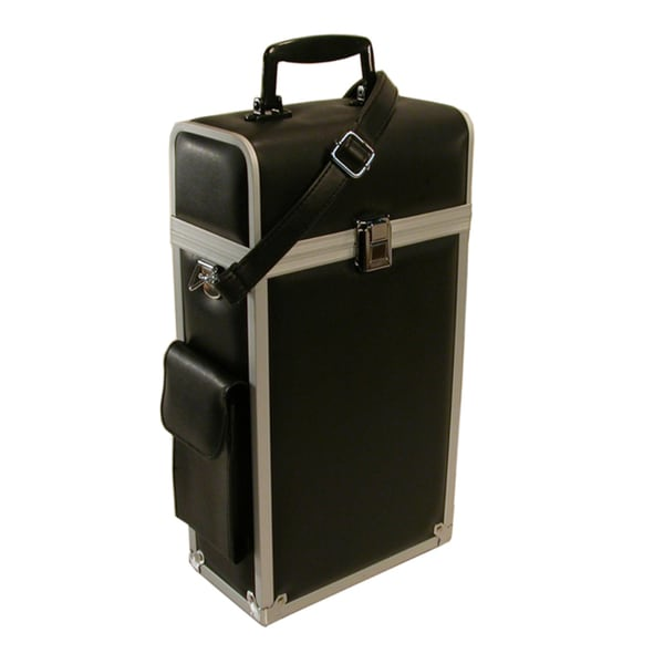 Travel-Rite Leather-look Black with Aluminum Trim Double Bottle Travel Wine Carrier