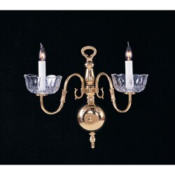 Colonial 2-light Polished Brass Wall Sconce