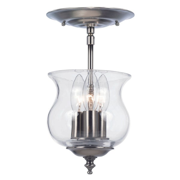 Ascott 3-light Pewter Semi Flush