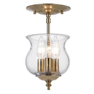 Ascott 3 light Polished Brass Semi-Flush