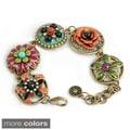 Sweet Romance Bronzetone or Silvertone Enamel Flower Bracelet