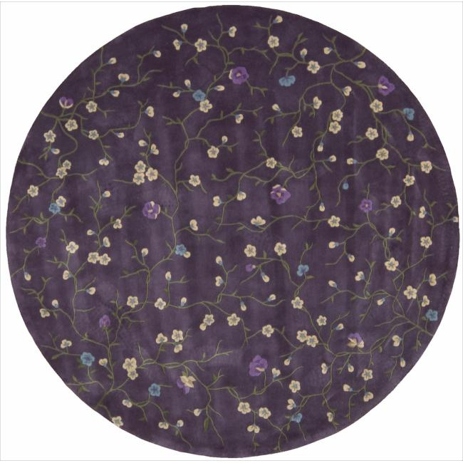 Nourison Hand-tufted Julian Floral Purple Rug (8' Round)