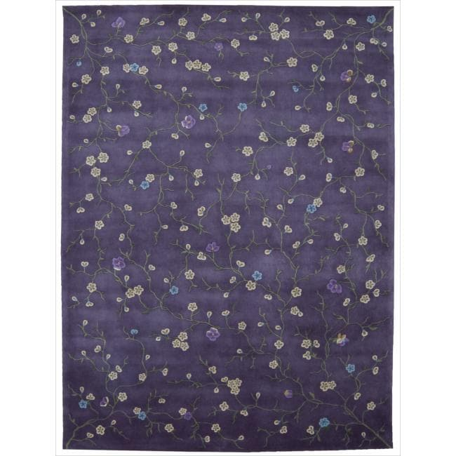 Nourison Hand-tufted Julian Floral Purple Rug (7'6 x 9'6)