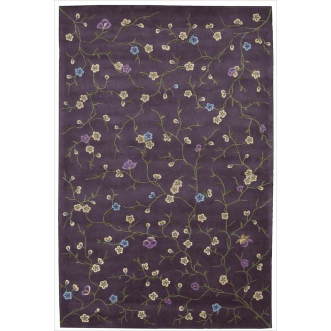 Nourison Hand-tufted Julian Floral Purple Rug (5'3 x 8'3)