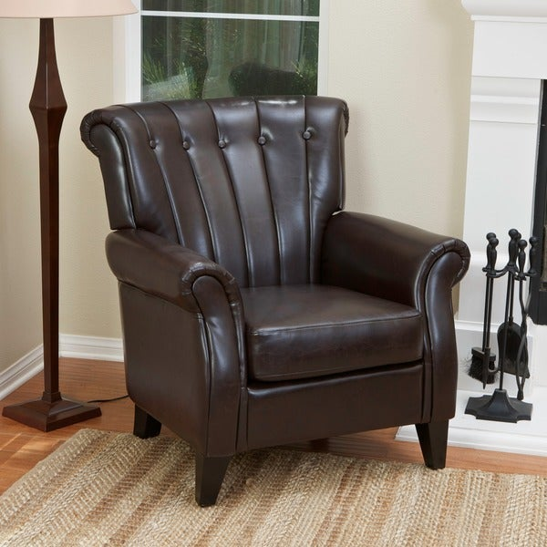Christopher Knight Home Clifford Channel Tufted Brown Leather Club Chair