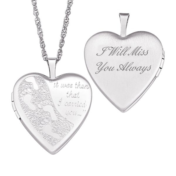 Sterling Silver 'I Will Miss You Always' Footprints Locket Necklace