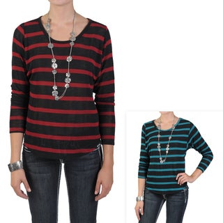 Journee Collection Junior's Long Sleeve Scoop Neck Striped Top