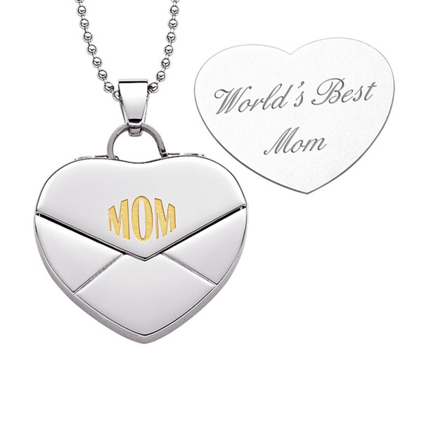 Stainless Steel MOM Heart Envelope Engraved Message Necklace