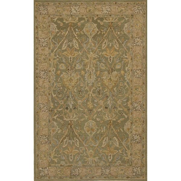 Handtufted Camilla Green Wool Rug (5 x 8)