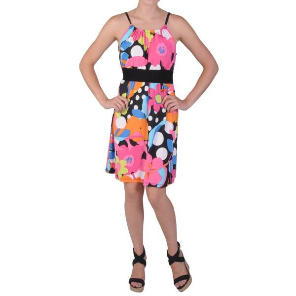 Journee Collection Juniors Multicolored Scoop-Neck Smocked Waist Dress