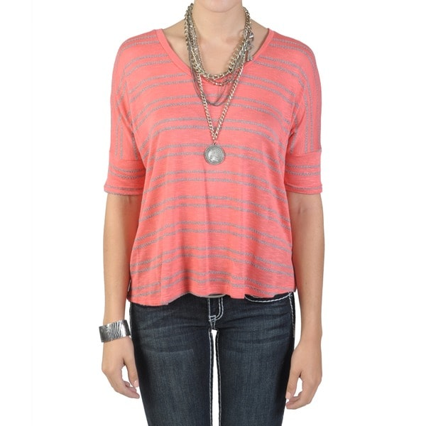 Journee Collection Juniors Dolman Sleeve Striped V-neck Top
