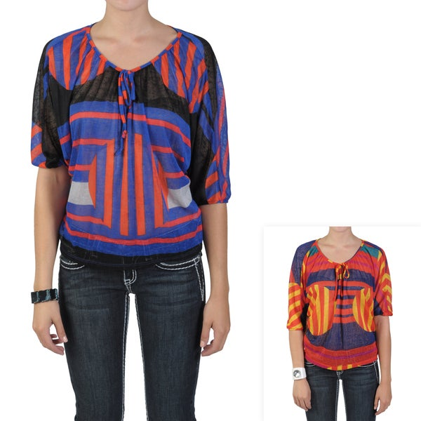 Journee Collection Juniors Aztec Print Front Tie Sheer Top