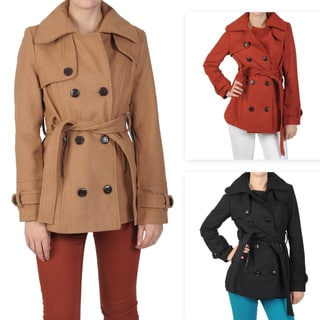Journee Collecion Juniors Double Breasted Belted Wool Coat