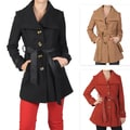 Journee Collection Juniors Button-up Wide Ribbed Collar Coat