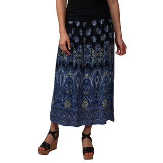 Journee Collection Juniors Banded Waist Paisley Print Maxi Skirt