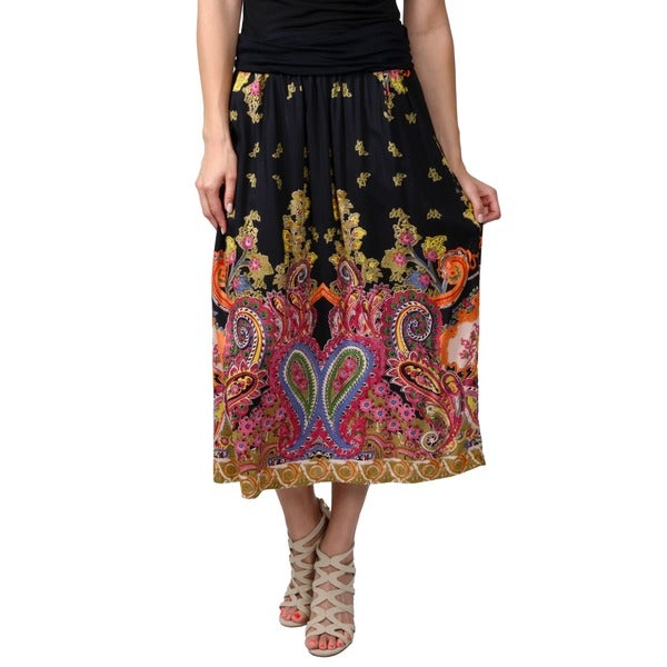 Journee Collection Juniors Orange Banded Waist Printed Maxi Skirt