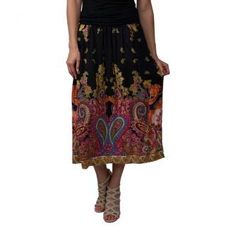 Journee Collection Juniors Orange Banded Waist Printed Maxi Skirt